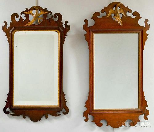 Two Chippendale Carved Mahogany Scroll-frame Mirrors