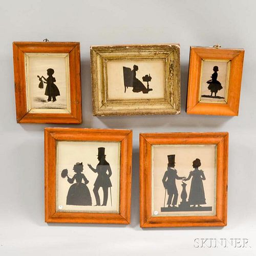 Five Framed Cut and Watercolor Silhouettes