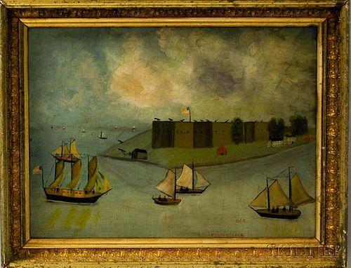Framed Primitive Oil on Board Depiction of Fort Independence