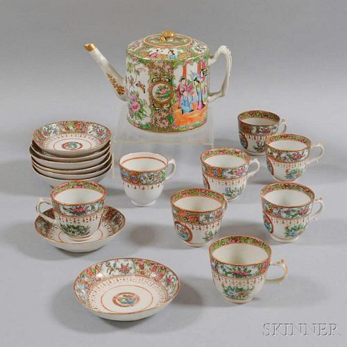 Seventeen-piece Rose Medallion Porcelain Tea Set