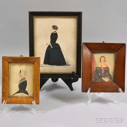 Three Framed Watercolor Portraits of Women