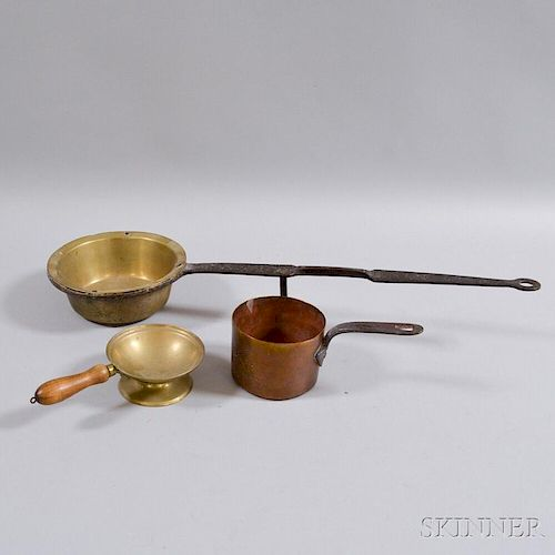 Three Brass, Iron, and Copper Pans