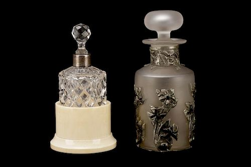 Two Silver Mounted Glass Perfume Scent Bottles