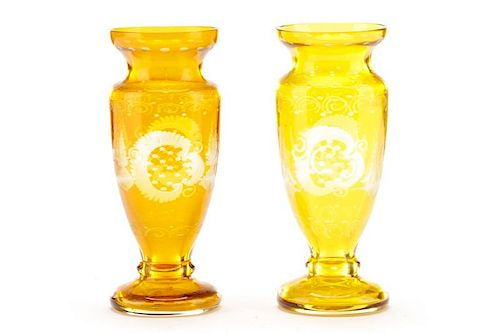 Pair of Amber Stag Motif Etched Glass Footed Vases