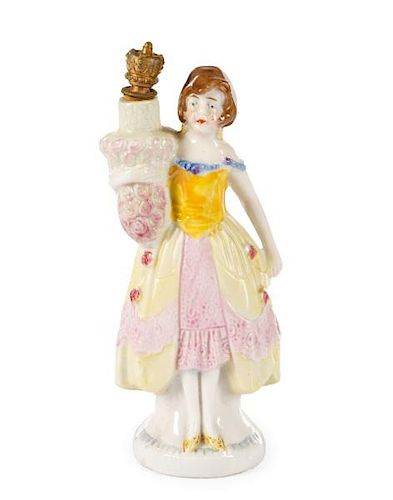German Figural Crown Top Perfume Scent Bottle