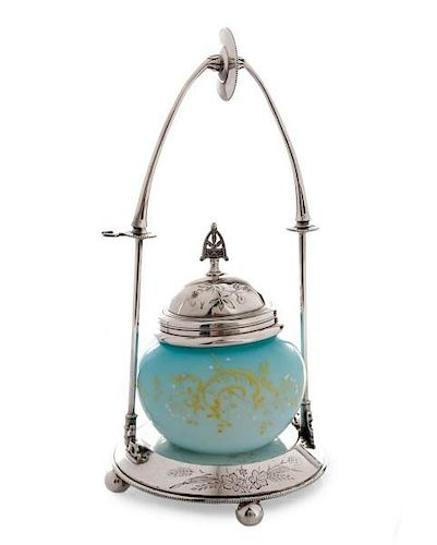Silver Plate Covered Satin Glass Jar on Stand