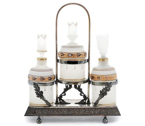 Victorian Ladies Silver & Glass Vanity Set, 19th C