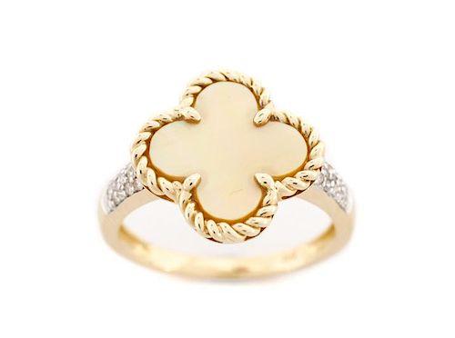 Ladies 14K Yellow Gold, Diamond & MOP Clover Ring