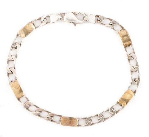 Tiffany Sterling & 18k Gold Curb Link Bracelet