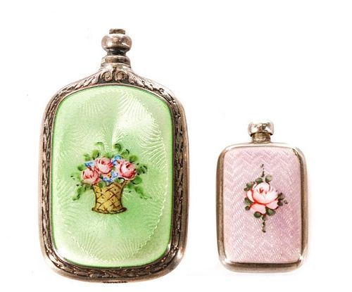Two Diminutive Sterling Guilloche Perfume Vials