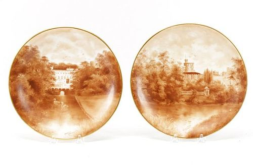 Pair of 19th C Hand Painted Cabinet Plates, Bodley