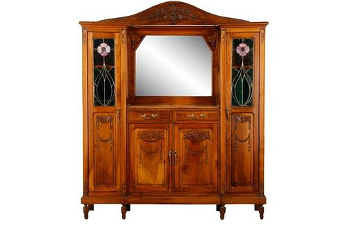 French Arts & Crafts Leaded Glass Buffet
