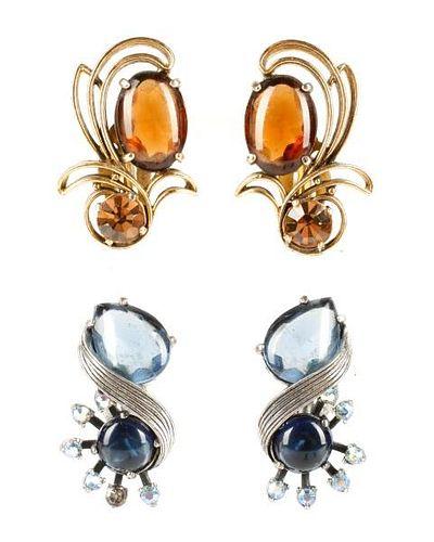 Vintage Schiaparelli Rhinestone Earrings, 2 Pairs