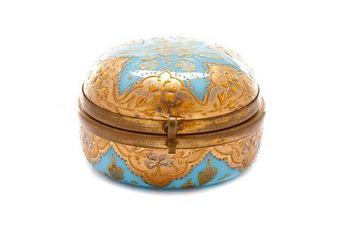 Moser Blue Opaline & Gold Encrusted Glass Box