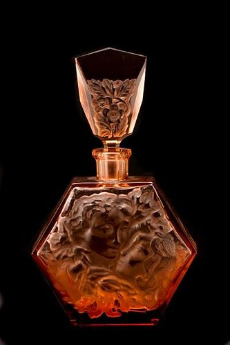 Hoffman Pink Glass Hexagonal Perfume Bottle