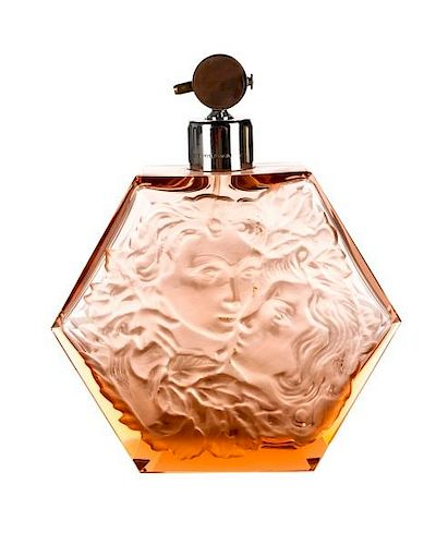Hoffman Pink Glass Hexagonal Perfume Atomizer