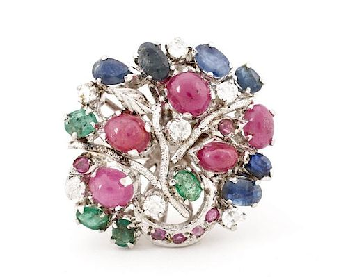 "Ladies' Precious Stone ""Tree"" Ring Set in Sterling"