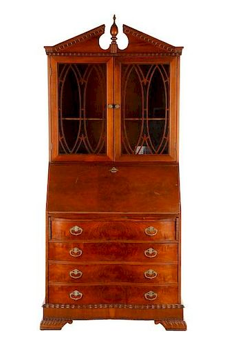 Burled Wood Carved Serpentine Front Secretary