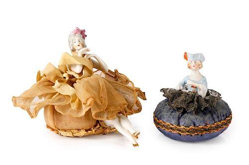 Pair, Victorian Porcelain Doll Pin Cushions