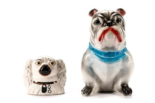 Two English Pottery Dog Form Piggy Banks