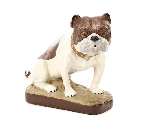 Polychrome Chalkware Bulldog with Studded Collar