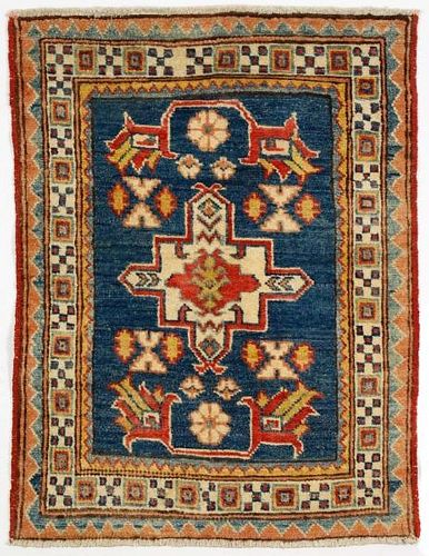 "Hand Woven Kazak Throw Rug (2' x 2' 9"")"