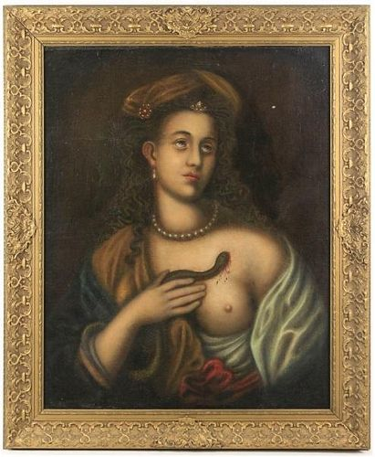 "19th C. Continental School Oil, ""Woman with Asp"""