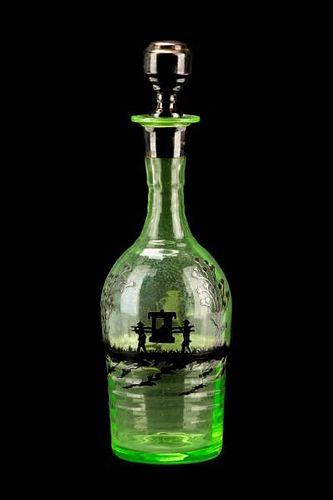 Uranium Green w/Sterling Overlay Decanter