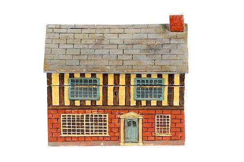 English Polychromed Cottage Motif Tea Caddy