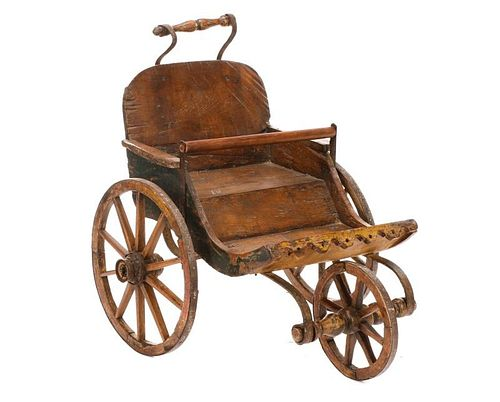 Small Rustic Wood & Wrought Iron Stroller