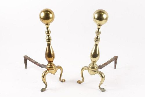 Pair of 19th C. Brass Cannonball Andirons