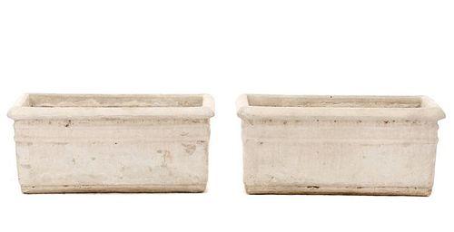 Pair, Rectangular Cast Stone Garden Planters