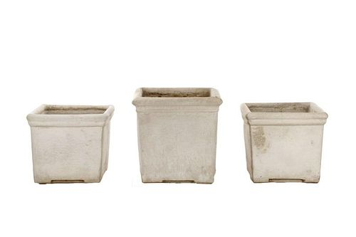 Set of 3 Squared Cast Stone Garden Planters
