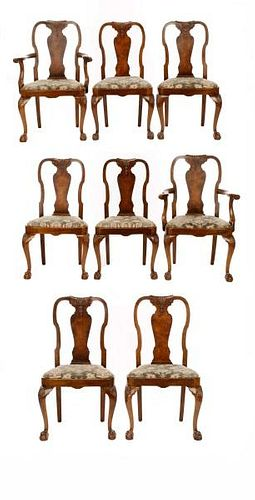 Set of 8 English Queen Anne Style Dining Chairs