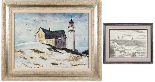 Two Ben Shute Works on Paper, Seaside Scenes