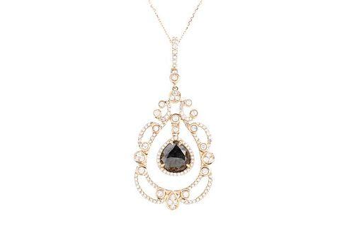 Ladies 14K Rose Gold & Rose Cut Diamond Necklace