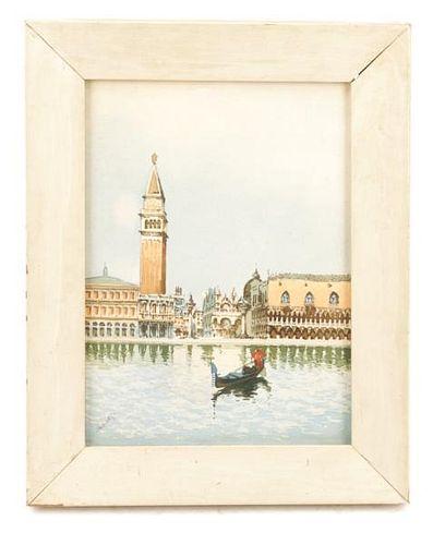 """Italian School, """"Canale di San Marco"""", Watercolor"""