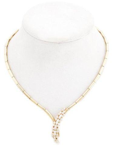 Ladies 14k Gold & Diamond Waterfall Necklace