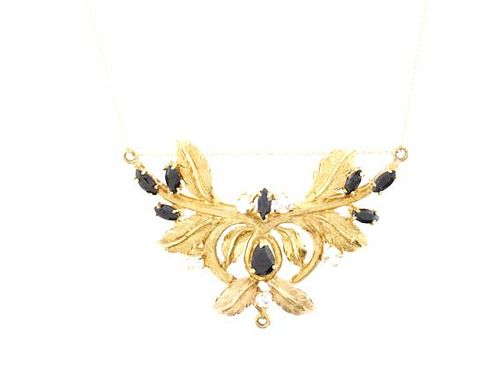 Sapphire & 18k Gold Floral Spray Pendant Necklace