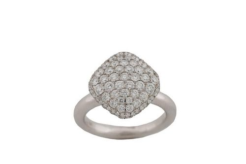 18K White Gold & Pave Set Diamond Cluster Ring