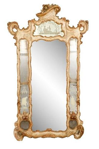 Monumental Polychrome Carved Wood Girandole Mirror