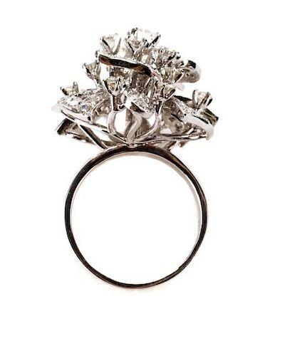 14k White Gold and Diamond Flower Cluster Ring