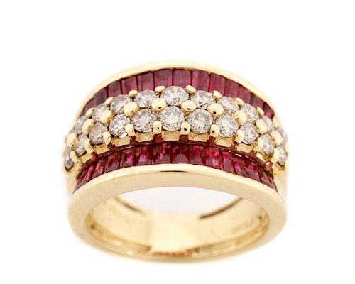 Ladies 18K Yellow Gold, Ruby, & Diamond Ring