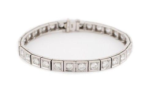 Ladies 14K White Gold & Diamond Tennis Bracelet