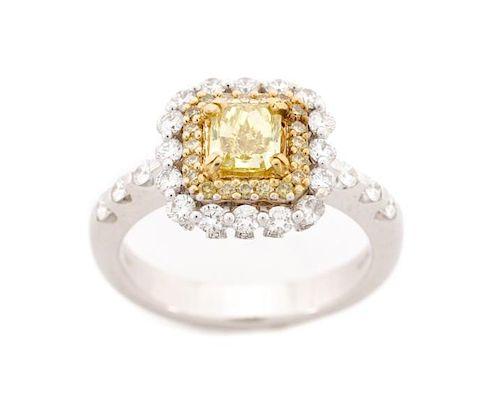 18k White Gold and Fancy Yellow Diamond Ring, GIA