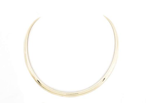 Italian 14k Yellow Gold Domed Omega Necklace