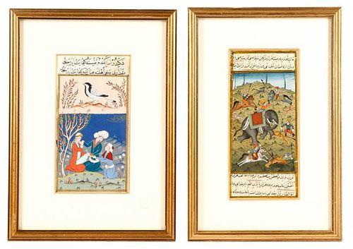 Pair of Persian Mughal Hand Painted Miniatures