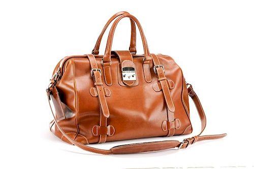 "Mulholland Leather Co. Brown Leather ""Safari"" Bag"