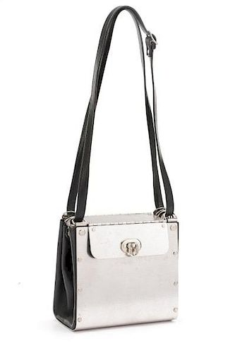 Wendy Stevens Stainless Steel and Leather Handbag