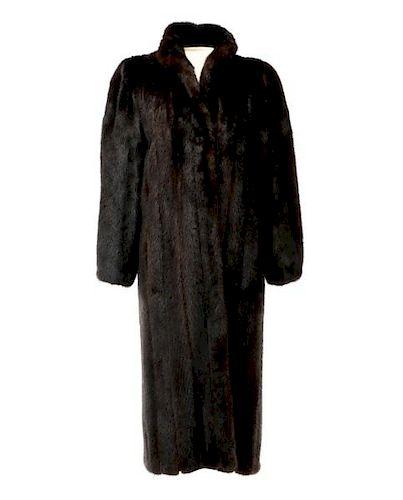 Ladies Dark Brown Full Length Mink Coat